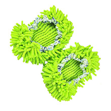 2 Pairs Comfortable Dust Mop Slippers Shoes Floor Cleaner-Green(China)