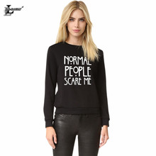 Normal People Scare Me Harajuku Brand Women Sweatshirt Cotton Casual Funny For Lady Warm Black Tops Hipster Street Hoodies H1026