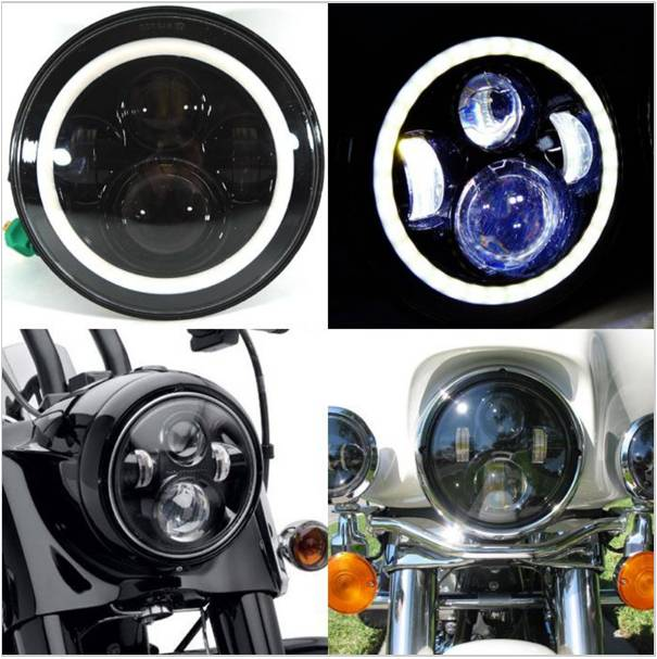 1 PCS 7INCH LED High/Low Beam Headlight Kit with DRL 7 Motorcycle Headlight for Harley<br>