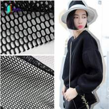 White/Black Fashion Large Grid Hollow Perspective Double-sided Air Layer Space Cotton Cloth/Dress Mesh Fabric,Width 140CM S0033J