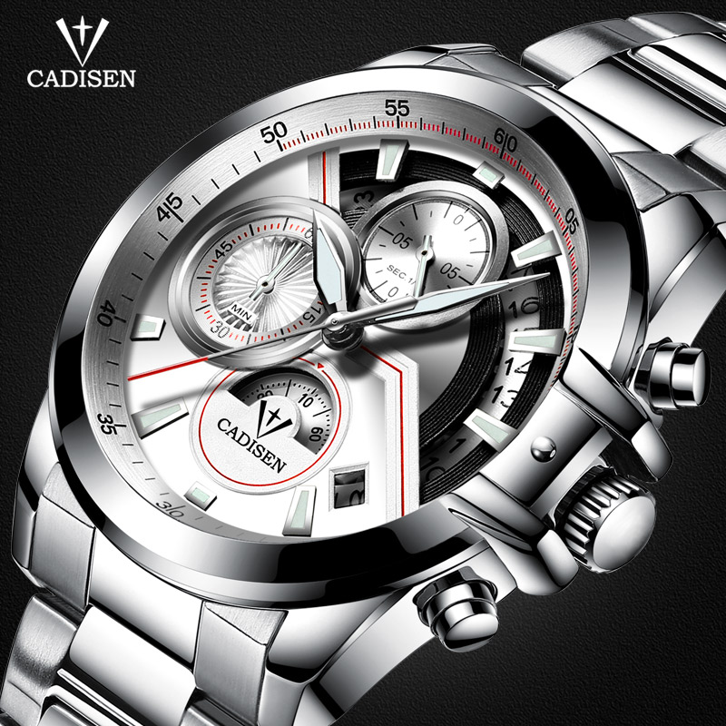 Cadisen Mens Stainless Steel Chronograph Quartz Watches with Luminous Hands Waterproof Analogue Quartz Wristwatch Boys C9016-S7<br>