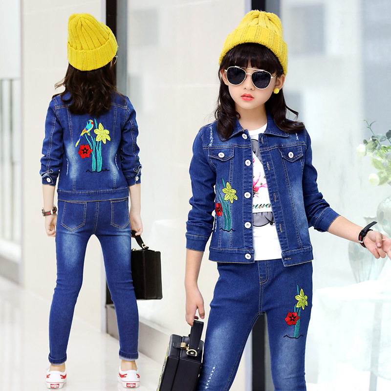 2018 Girl Clothing Set Toddler Girls Sport Suits Spring Autumn Tracksuits Kids Sport Suit Set Casual Cardigan Coats/Jacket+Jean<br>