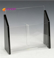 2 pocket clear and black acrylic brochure holder for tabletop fits 4 x 9 pamphlets TRS2(China)