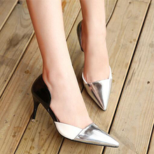 2017 Spring New Pumps For Women Hollow Pointed High-heel Women Shoes Black Silver Pink High Heels Single Shoes Plus Size 40 XP35