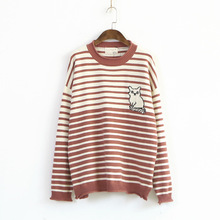 169-0592 Fashion Simple Autumn New Women'S Striped Cartoon Cat Sweater Pullover Mori Girl Jumper(China)