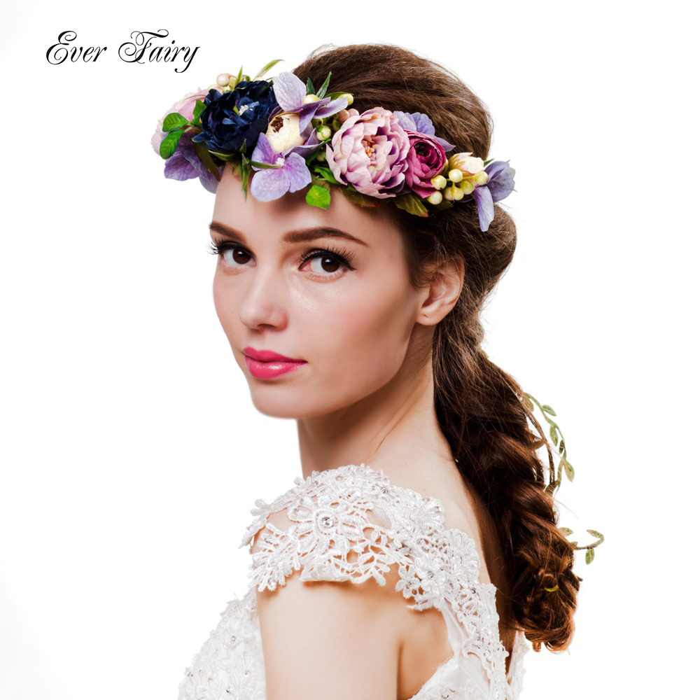 2017 Women Flower Crown Festival Wedding Girls Party Floral Headband Multicolor flower Rattan Flower Headband Wreath(China (Mainland))