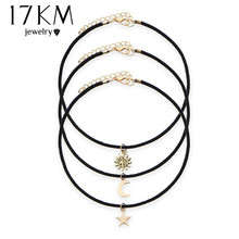 17KM New Star Moon Sun Chokers 3 Pcs Sets Necklaces Alloy Pendants Maxi Necklaces For Love Choker Women Jewelry Accessories(China)