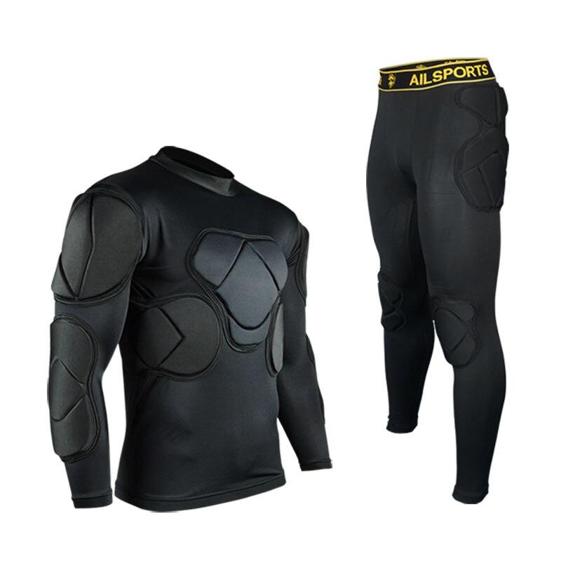 2017 new football sports safety thicken gear soccer goalkeeper jerseys pant shorts set knee pads elbow helmet kneepads protector<br>
