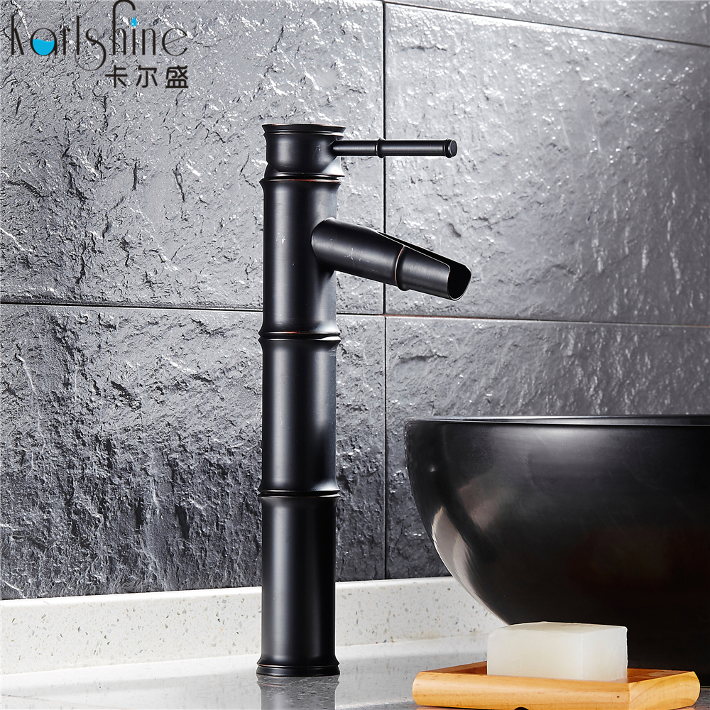 Free Shipping Wholesale And Retail New Deck Mounted Bamboo Shape Basin Sink Faucet oil rubbed bronze Black Bathroom Mixer Faucet<br><br>Aliexpress