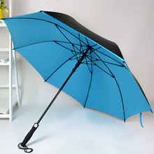 Half-automated long-handle golf umbrella, double layer, blacking coating for sun block, logo can be printed as business gifts