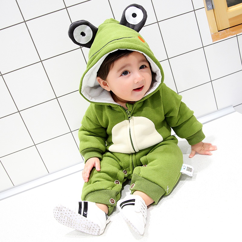 66/73/80/90cm Toddler Baby Boy Rompers Winter Plush Jumpsuit Frog Pattern Hoodie Babe Animal Costume Coat Green Khaki Dark Brown<br>