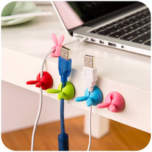 Headphone cable data lines holder creative personality cute rabbit ears solid thread wire receiving finisher