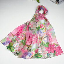100% Silk Scarf Women Scarf Hummingbird Silk Shawl 2017 Designer Scarf  Female Silk Pashmina Thin Silk Wrap Luxury Gift for Lady