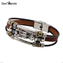 Bracelet Men Accessoires Homme 2017 Tibetan Silver Men Leather Bracelet Fashion Male Vintage Parataxis Dragon Multilayer Jewelry(China)