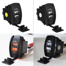 12V/24V Car Truck Boat Orange LED Backlit 2 USB Charger 5V 3.1A Rocker Switch for Car Motorcycle Electric Car ATV Boat