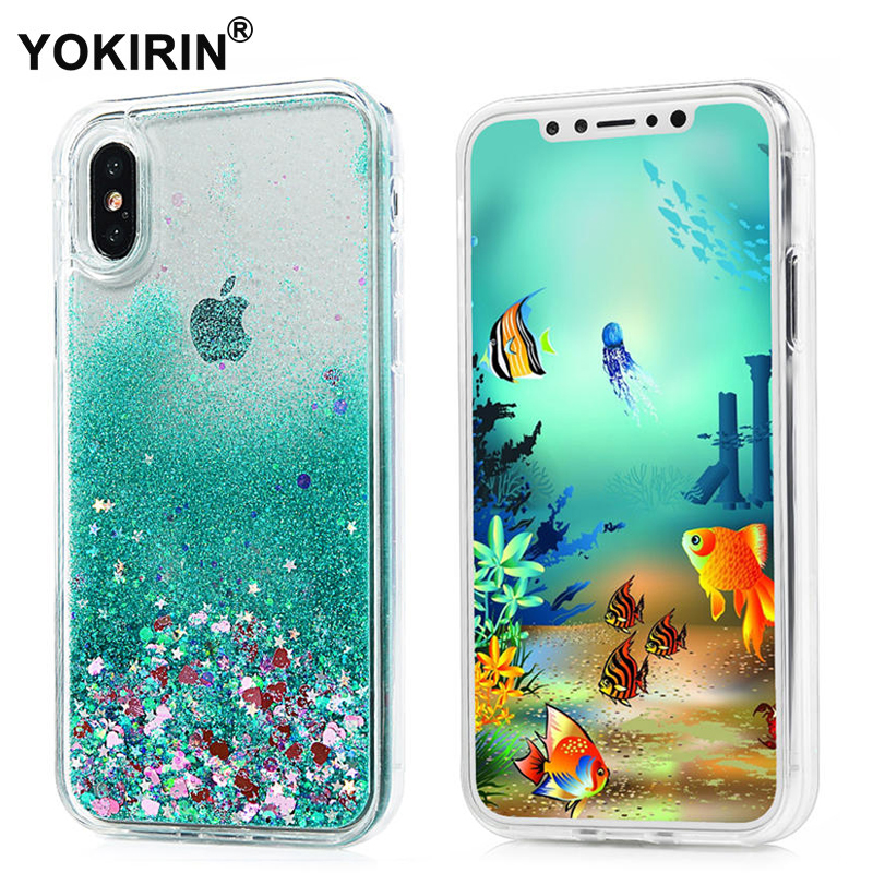 YOKIRIN Phone Case Apple iPhone X Dynamic Liquid Glitter Bling Sand Star Quicksand Hard PC Cover iPhone X Phone Cases