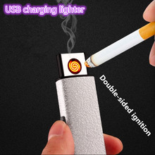 2017 Hot Selling small Rechargeable electric USB Windproof flameless cigar Electronic charging Cigarette lighter No gas lighters(China)