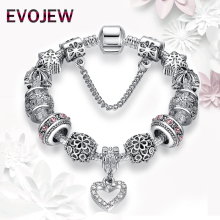 EVOJEW Antique Silver 925 Starfish Eiffel Tower Snowflake Crystal Heart Charm Beads Fit Original Bracelet Women DIY Jewelry Gift(China)
