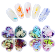 4Pcs Preserved Flower 3D Nail Art Decoration Lavender Cornflower Babysbreath Dried Flower With Heart-Shaped Box Nail Decoration(China)