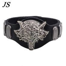 JS Retro Charm Wolf Bracelet Punk Style Black Genuine Leather Cuff Bangle Male Gothic Spike Jewelry LB034