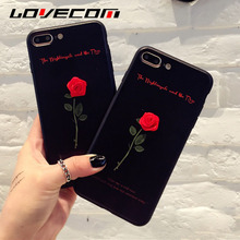 LOVECOM New Fashion For iPhone 6 6S Plus 7 7 Plus Sweet Love Letters DIY Beautiful Red Rose Flower Soft TPU Best Gift Phone Case