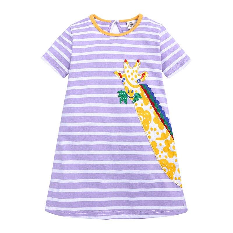 summer short sleeve o-neck dress for kid girls kids dresses stripe cartoon giraffe clothes Casual toddler 2019