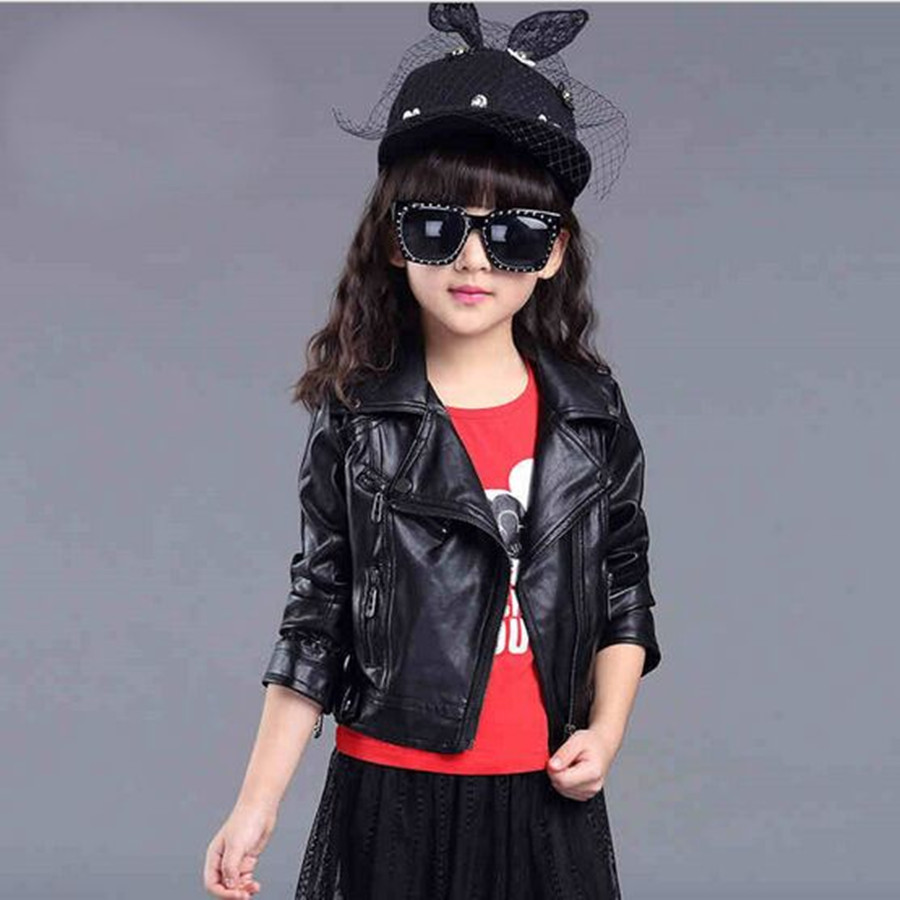 2017 New Arrive Occident Jacket For Girls Pu leather Zip Long Sleeve Girls Jacket Spring/ Autumn Turn-Down Collar Short Top 2-5T<br><br>Aliexpress