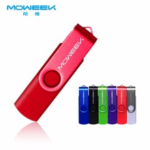 Moweek USB Flash Drive 2017 fashion Swiveling metal USB stick 128G 64G 32G 8G 4G pen drive 16G otg usb 2.0 flash disk free ship(China)