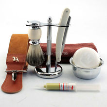 7pcs Mens Shave Ready Straight Razor Barber Brush Stand Bowl Strop Soap Towel