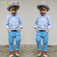 Buy 2PCS/2-6Years/Spring Autumn Kids Clothes Baby Boys Suits Fashion Casual Stripe Shirt+Blue Pants Children Clothing Set BC1121 for $13.90 in AliExpress store
