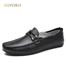 Men's Moccasins Loafers xgvokh brand Leather Slip On Driving Shoes Spring/Autumn/Summer Casual Boat Deck Men Shoes(China)