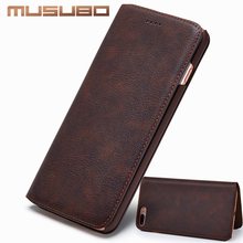 Musubo Ultra Slim Phone Case for iPhone X 7 Plus Genuine Leather Luxury Cases Cover for iPhone 8 6 Plus 6s 5 5s SE S8 Flip capa(China)