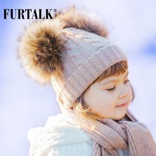 FURTALK children wool winter hat scarf sets 2-5 years girl and boy real fur pom pom baby hats knit infinity scarf SFFW033(China)