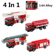 Discount 4pc/lot 1:64 alloy fire truck, Wheel Toys, model cars, children's gifts, Water tanker ,Ladder truck,free shipping(China)