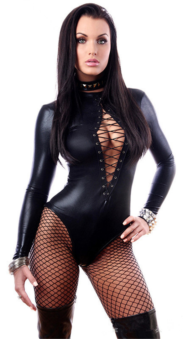 Women SexyLingerie Hot Erotic Catsuit Costume Sexy Lingerie Latex Plus Size Hollow Lady Nightclub Bodysuit Pole Dancing 2017 NEW