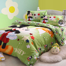twin full queen king duvet covers cotton bedding sets green mickey star shape printed boys children's girls bed linens 3pcs 4pcs
