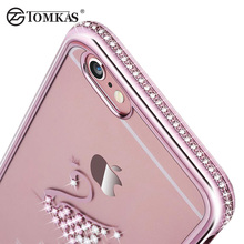 Rhinestone Silicone Case For iPhone 6 6S Plus 6 S Cases TOMKAS Glitter Cute Luxury 3D Diamond Cover For iPhone 6 6S Cases Coque(China)