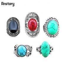 Wholesale Lot 5pcs Vintage Look Retro Craft Tibet Alloy Silver Plated Assorted Design Mixed Color Stone Rings R015
