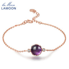 LAMOON 18K Rose Gold Plated Charm Bracelets for Women 100% Natural Round Purple Amethyst 925 Sterling Silver Fine Jewelry HI035(China)