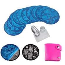 10Pcs Nail Stamping Plates Polish Stencils For Nails 1Pc Rose Red Template Case Clear Scraper Stamper Nail Art Set Kits(China)