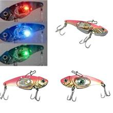 LED Fishing Lure 32g 8cm Blade Lure Treble Hook Electronic Lighted Fishing Bait Metal Lure Flash Lamp Spoon(China)
