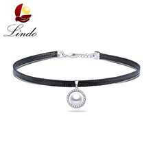 High Quality 925 Sterling Silver Chokers For Women Vintage 4A Natural Freshwater Pearl Necklace Black Faux Leather Party Jewelry(China)