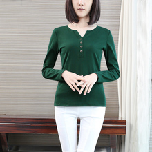 Yichaoyiliang 2017 Spring Simple V-neck Long Sleeve Green T Shirts for Women Street Style Slim Button Bottoming Tunic Shirts