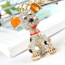 New Dog Cute Charm Lovely Pendant Rhinestone Crystal Purse Bag Car Key Chain Women Jewelry Birthday Party Wedding Gift(China)