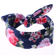 1PC Cute Girls Bow Knot Floral Headband Hairband Rabbit Ear Feather Arrow Print Head Wrap Hair Band Accessories(China)