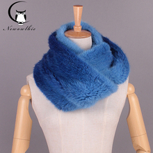 The new imported mink knitted scarf gradient elastic encryption thickened elastic extension real mink fur scarf