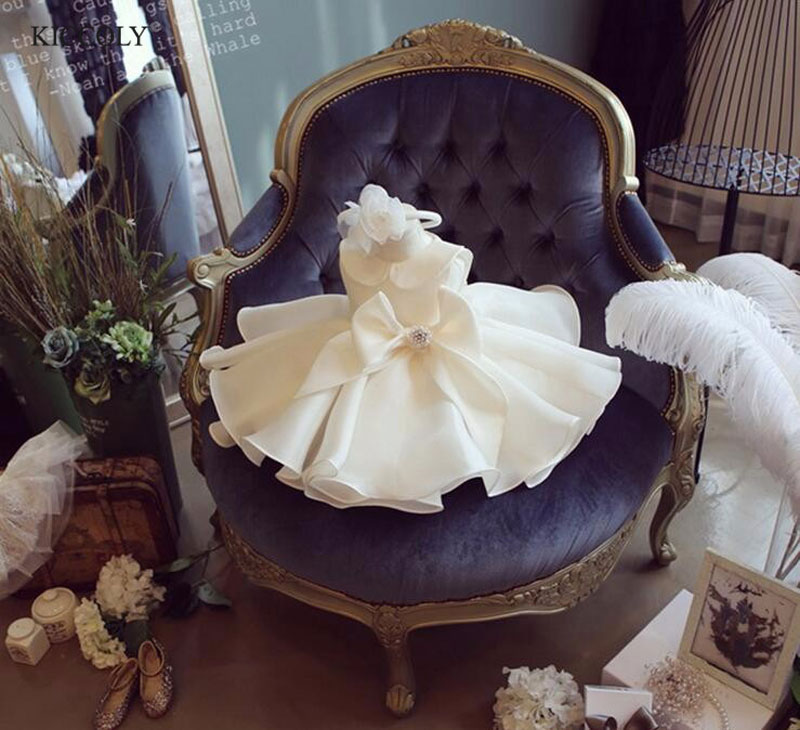 Top Quality Big Bow Girls Pageant Dresses For Baby Girl Princess Flower girl Dresses Kids Formal Wedding Party Christening Gown<br>