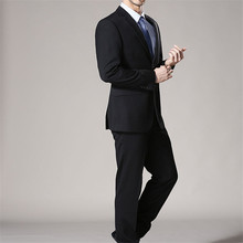 New men suits winter two-button men's suit/Can be custom tailored business appointment party (coat + pants + tie)(China)