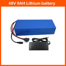 Hot Sale 48V 500W Electric Bike battery 48V 9AH Lithium Battery with PVC case BMS 54.6V 2A charger Free Shipping