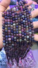 Lii Ji Natural Ruby Sapphire Round Shape Faceted beads 6mm DIY Jewelry Making Approx 39cm